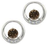 Gem Stone King 0.96 Ct Round Brown Smoky Quartz and White Diamond 14k White Gold Earrings