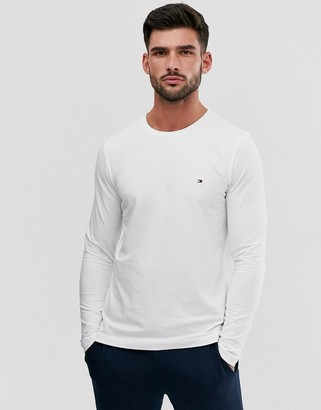 Tommy Hilfiger slim fit classic logo long sleeve t-shirt in white