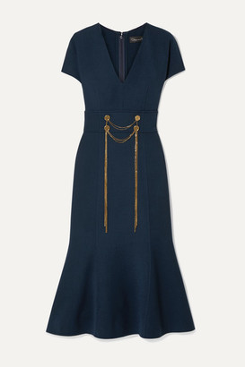 Oscar de la Renta Embellished Wool-blend Midi Dress - Navy