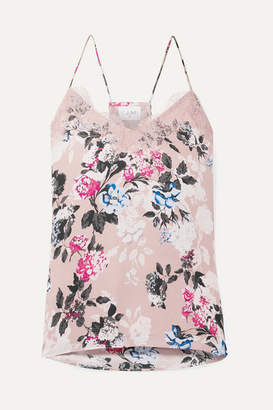 CAMI NYC The Racer Lace-trimmed Floral-print Silk-georgette Camisole - Pink