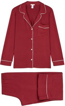 Eberjey Giselle burgundy stretch-modal pyjama set