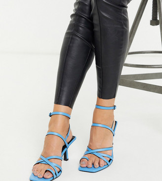ASOS DESIGN Wide Fit Whittle toe loop mid-heeled sandals in blue