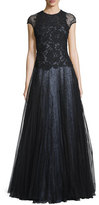 Monique Lhuillier Cap-Sleeve Lace Ball Gown, Black