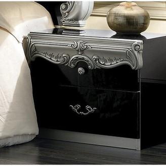 Astoria Grand Alexzander 2 Drawer Nightstand Astoria Grand Color: Black/Silver