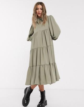 Topshop tiered midi dress in khaki