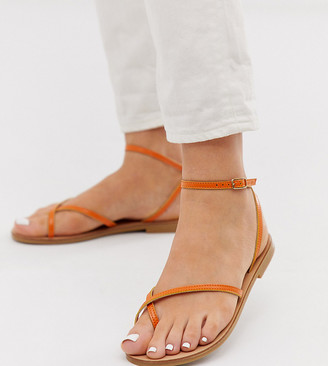 Asos Design DESIGN Wide Fit Freefall minimal toe loop flat sandals in orange
