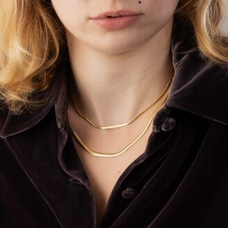 Gold Flat Snake Chain Necklace