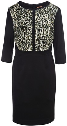 Conquista Straight Dress With Animal Print Detail In Stretch Jersey Sustainable Fabric.