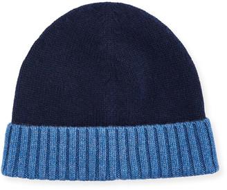 Neiman Marcus Men's Cashmere Contrast-Cuff Beanie Hat