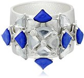 "m. haskell Fashion Jewelry Tribal Glam Silver-Tone Blue-Beaded Bangle Bracelet, 2.3"""