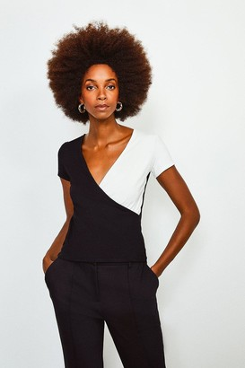 Karen Millen Colour Block Wrap Jersey Short Sleeve Top