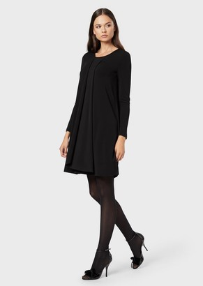 Emporio Armani Draped, Crepe-Effect Fabric Dress