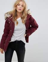 Vila Down Padded Short Jacket With Faux Fur Collar