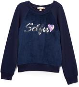 Speechless Navy 'Selfie' Fuzzy Sweatshirt - Girls