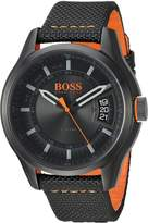 HUGO BOSS BOSS Orange Men's 'HONG KONG SPORT' Quartz Resin and Nylon Casual Watch, Color: (Model: 1550003)