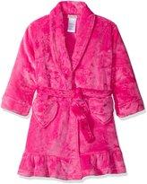 Komar Kids Big Girls' Velvet Fleece Bath Robe with Heart Pockets, Dark , Size 12