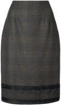 Carolina Herrera plaid fitted pencil skirt