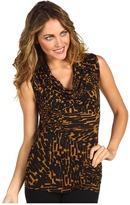 Three Dots Sleeveless Cowl Shirt (Gold Geo) - Apparel