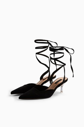 Topshop Womens Jena Black Ankle Tie Court Heels - Black
