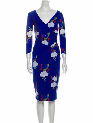 Chiara Boni Floral Print Knee-Length Dress Blue