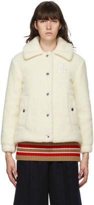 Burberry Off-White Wool Fleece Wishaw Jacket