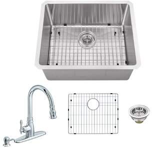 Soleil Radius 16 Gauge Stainless Steel 23'' x 19'' Single Bowl Undermount Bar Sink with Faucet and Soap Dispenser Soleil Faucet Finish: Polished Chrome