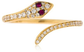 Ef Collection Diamond Snake Ring W/ Rubies