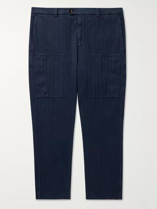 Brunello Cucinelli Cropped Herringbone Stretch Cotton-Blend Trousers
