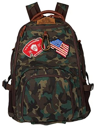STS Ranchwear Camo Big Swiss Army Backpack (Green/Brown) Backpack Bags