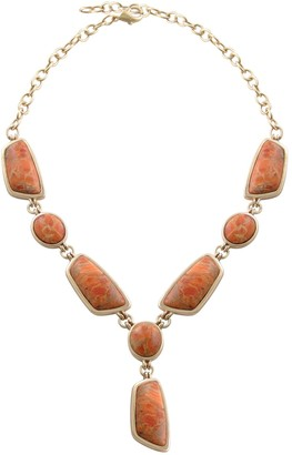 Barse Artisan Crafted Orange Sponge Coral Statement Necklace
