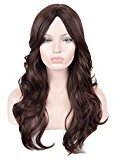 SiYi Long Wavy Wig Brown Curly Synthetic Heat Resistant Wigs None Lace Cosplay Full Wigs for Women Girls