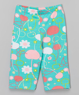 Flap Happy Cherry Blossoms Print Capri Leggings - Infant Toddler & Girls