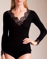 Dana Pisarra Lione Ribbed Wool and Silk Long Sleeve Top