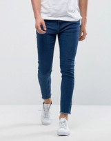 Only & Sons Skinny Medium Blue Jeans With Raw Edge
