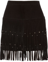 Rebecca Minkoff Flight Embellished Fringed Suede Mini Skirt