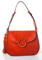 Tory Burch Orange Suede River Rock Gold Tone Tassel Trimmed Shoulder Handbag