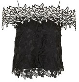 Topshop Monochrome Lace Cold Shoulder Top