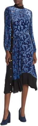 Tory Burch Leah Silk Blend Velvet Floral Burnout Asymmetrical Midi Dress