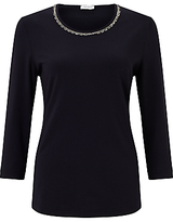 Gerry Weber 3/4 Sleeve Beaded Trim T-Shirt, Indigo