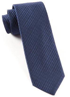 Tie Bar Silk Seersucker Solid Navy Tie