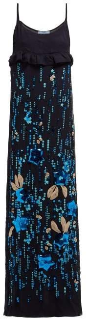 Prada Sequinned Silk Chiffon Gown - Womens - Blue Multi