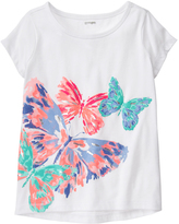Gymboree White & Coral Butterfly Active Tee - Girls