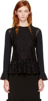 See by Chloe Black Lace Peplum Blouse