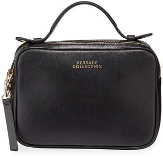 Versace Saffiano Top-Zip Shoulder Bag, Black