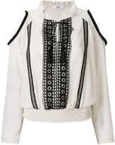 Blugirl embroidered cold shoulder blouse