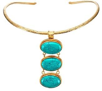 Sylvia Toledano Torque Goldtone & Turquoise 3-Stone Choker Necklace