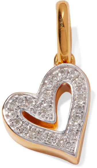Monica Vinader Alphabet Heart Gold Vermeil Diamond Pendant - one size