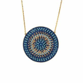 Cosanuova Gold Multicolor Round Disc Necklace