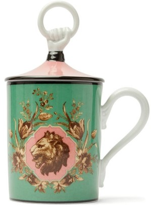 Gucci Lion-print Hand And Ring-lid Mug - Green Multi