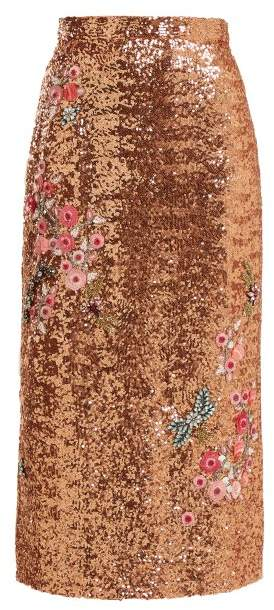 Erdem Sacha Sequined Skirt - Womens - Pink Multi